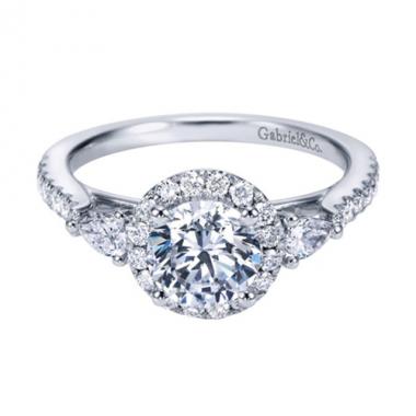 14K White Gold 3-Stone Halo Engagement Ring