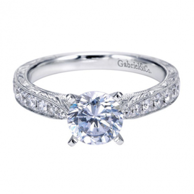 14K White Gold Carved Tapered Engagement Ring
