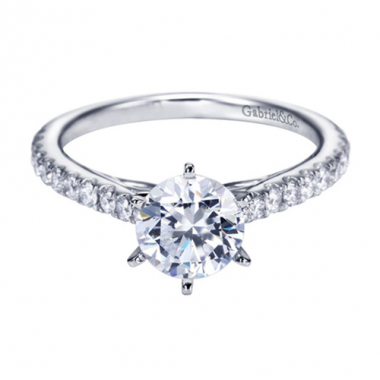14K White Gold Tapered Cathedral Engagement Ring