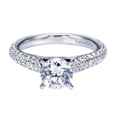 14K White Gold Domed Cathedral Engagement Ring