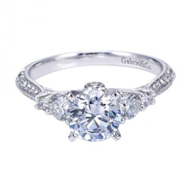 14K White Gold 5-Stone Diamond Engagement Ring