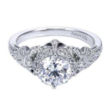 Platinum Ornate Pave Diamond Engagement Ring
