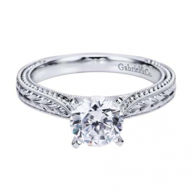 14K White Gold Carved Solitaire Engagement Ring