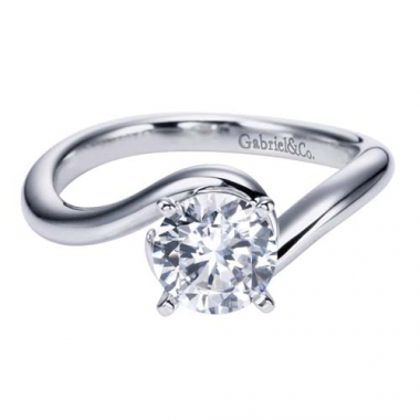 14K White Gold Solitaire Swirl Engagement Ring