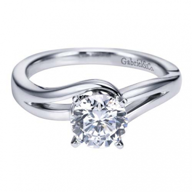 14K White Gold Curved Solitaire Engagement Ring