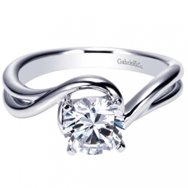 14K White Gold Swirl Solitaire Engagement Ring