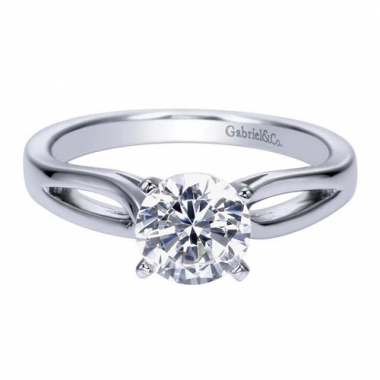 14K White Gold Tapered Solitaire Engagement Ring