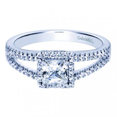 14K White Gold Shank Square Halo Engagement Ring