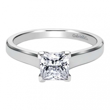 14K White Gold Beveled Solitaire Engagement Ring
