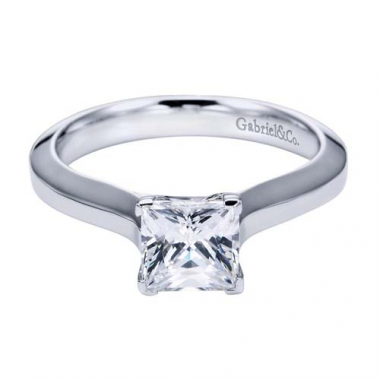 14K White Gold Trellis Solitaire Engagement Ring