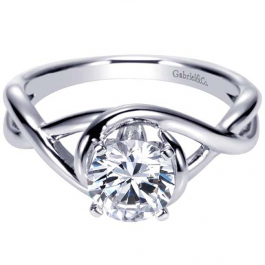 14K White Gold Twisted Solitaire Engagement Ring
