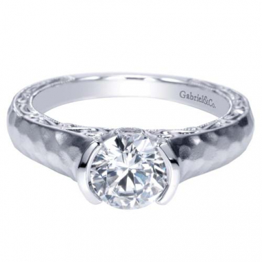 14K White Gold Hammered Solitaire Engagement Ring