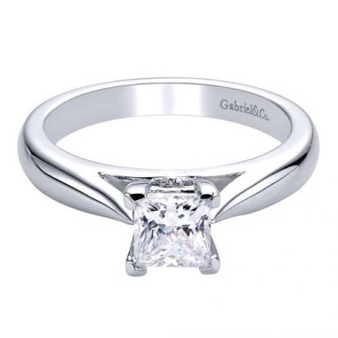 14K White Gold Cathedral Solitaire Engagement Ring