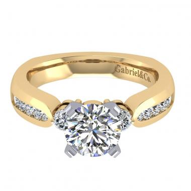 14K Two Tone Three-Stone Diamond Engagement Ring