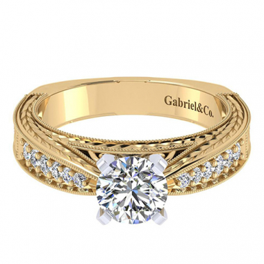 14K Two Tone Carved Diamond Engagement Ring