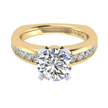 14K Two-Tone Channel Set Diamond Engagement Ring