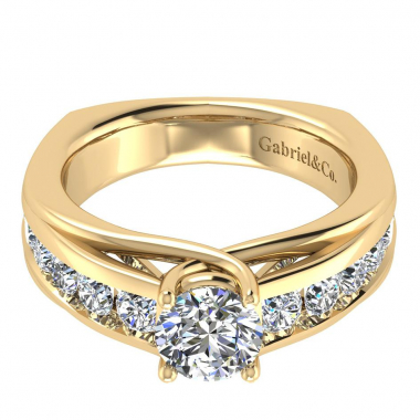 14K Yellow Gold Channel Diamond Engagement Ring