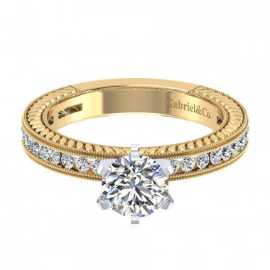 14K Two Tone Vintage Diamond Engagement Ring