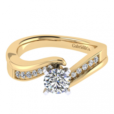 14K Two Tone Bypass Diamond Engagement Ring