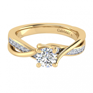 14K Two Tone Twist Bypass Diamond Engagement Ring