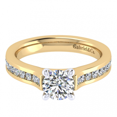 14K Two Tone Channel Diamond Engagement Ring