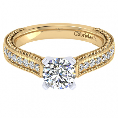 14K Two Tone Carved Cathedral Engagement Ring