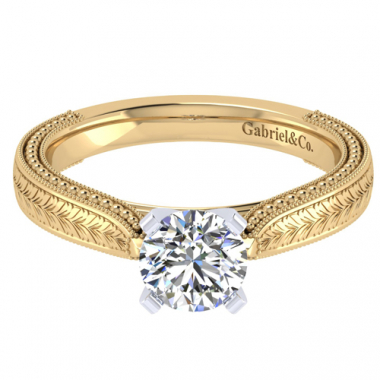 14K Two Tone Carved Solitaire Engagement Ring