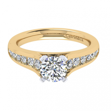 14K Two Tone Tapered Channel Set Engagement Ring