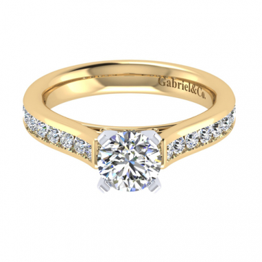 14K Two Tone Channel Set Diamond Engagement Ring