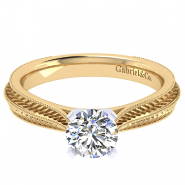 14K Two Tone Engraved Solitaire Engagement Ring