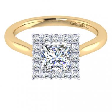 14K Two Tone Princess Cut Halo Engagement Ring