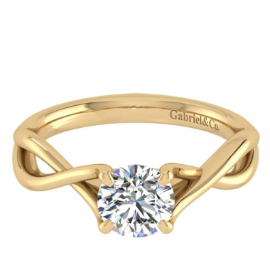 14K Yellow Gold Twisted Solitaire Engagement Ring
