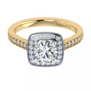 14K Two Tone Halo Engagement Ring