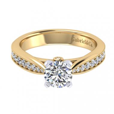 14K Two Tone Pave Set Diamond Engagement Ring