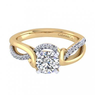 14K Two Tone Twisted Diamond Engagement Ring