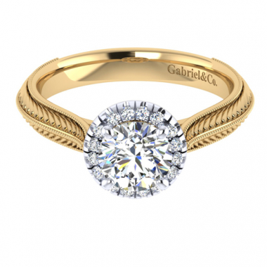 14K Two Tone Carved Halo Diamond Engagement Ring