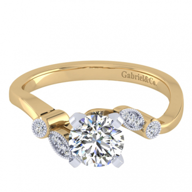 14K Two Tone Vintage Bypass Engagement Ring
