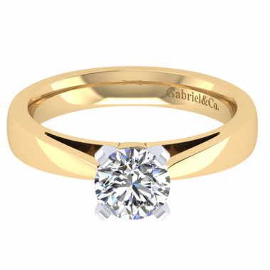 14K Two Tone Cathedral Solitaire Engagement Ring