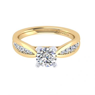 14K Two Tone Tapered Diamond Engagement Ring