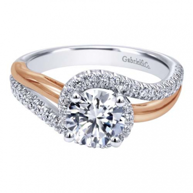 14K White and Rose Gold Pave Swirl Engagement Ring