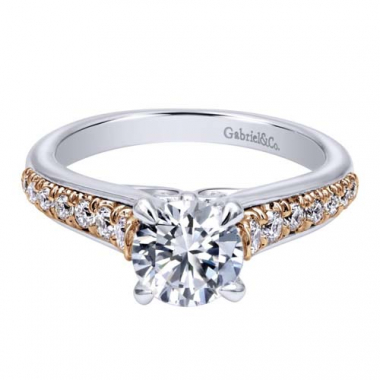 14K White and Rose Gold Pave Set Engagement Ring