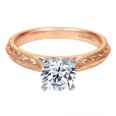 14K Rose Gold Carved Solitaire Engagement Ring