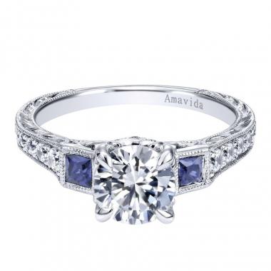 18K White Gold 3-Stone Sapphire Engagement Ring