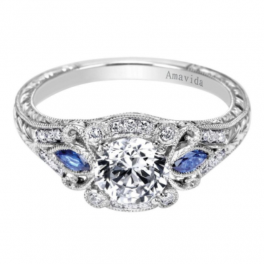 14K White Gold Pave Sapphire Engagement Ring