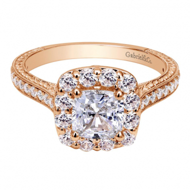 14K Rose Gold Victorian Halo Engagement Ring