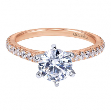 14K White & Rose Gold Contemporary Straight Engagement Ring