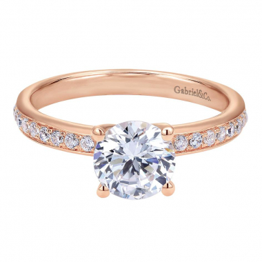 14K Rose Gold Contemporary Straight Engagement Ring