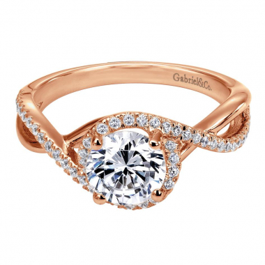 14K Rose Gold Contemporary Criss Cross Engagement Ring