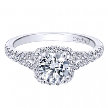 14K White Gold Cushion Halo Orchid Engagement Ring