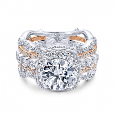 18K Two-Toned Diamond Stackable Style Engagement Ring